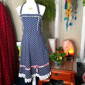 Polka Dot blue, white, and pink halter dress